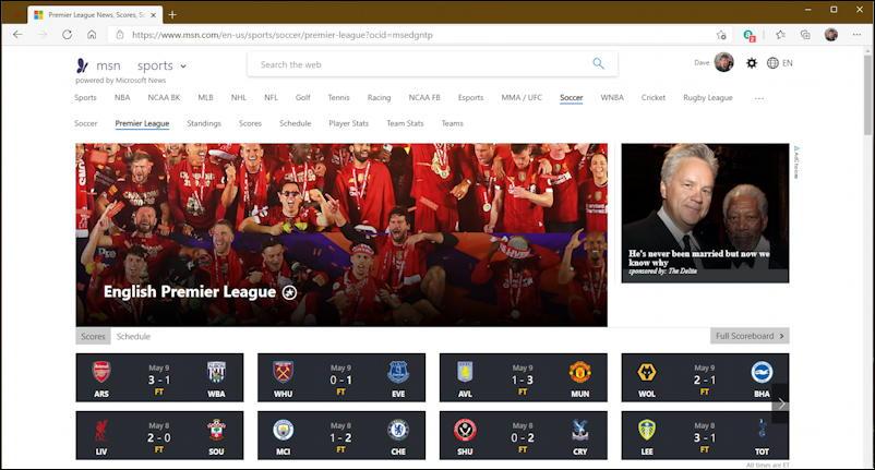 msn.com home page for premier league soccer news