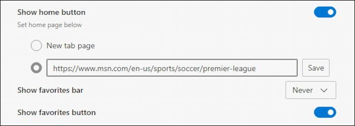 microsoft edge save new url home page button