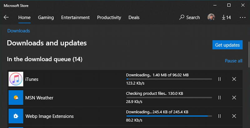 windows 10 win10 microsoft store - downloads and updates queue