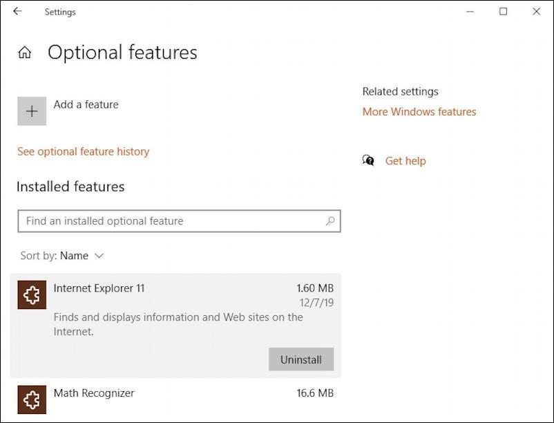 delete microsoft internet explorer win10 - optional programs features