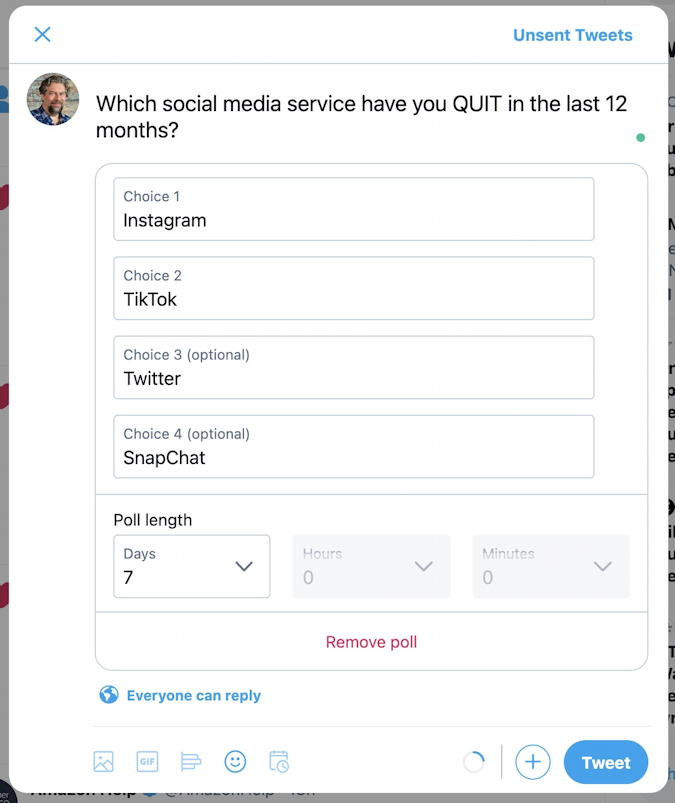 twitter poll ready to publish