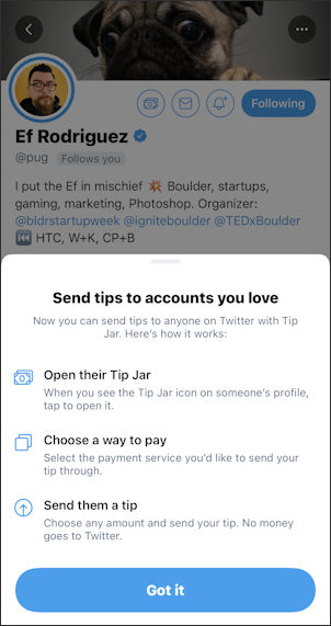 twitter profile - tip jar info pop-up