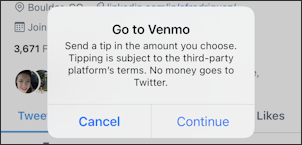 twitter tip jar - go to venmo