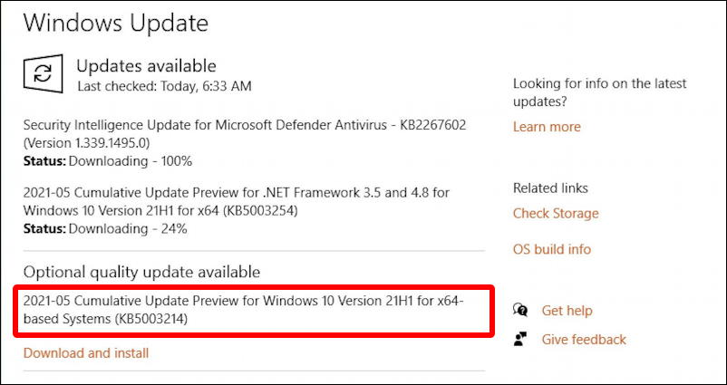 windows 10 - optional updates - 21h1 release preview