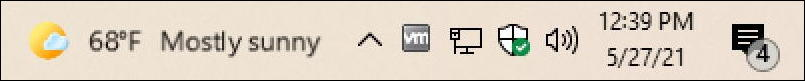 win10 taskbar - weather widget -