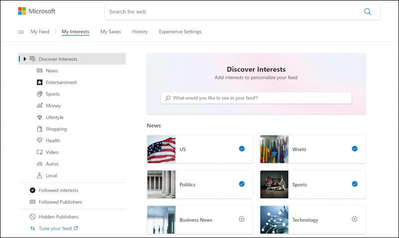 win10 taskbar - weather widget - manage interests news feeds