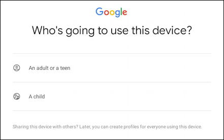 android add new user - who is going to use this device?