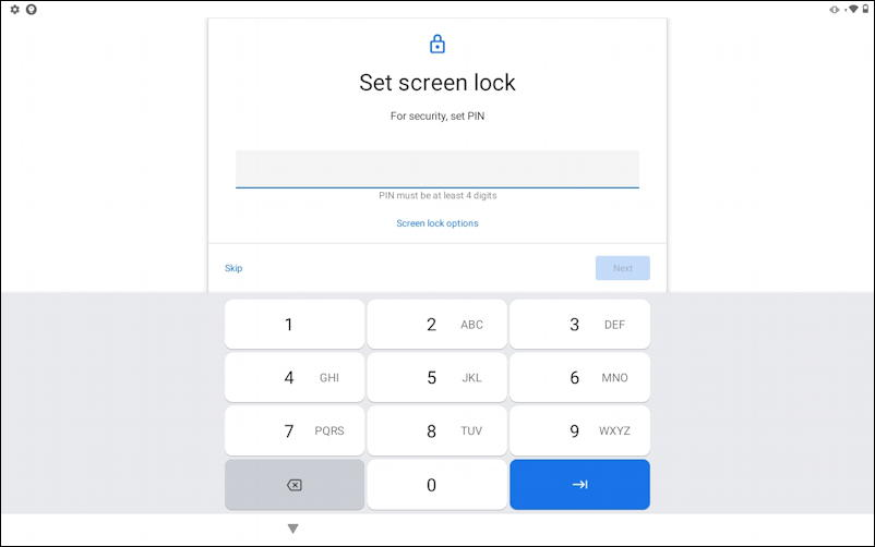 set up new android user - enter pin
