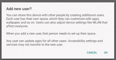 android add new user - add new user account confirmation