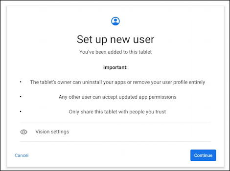 android add new user - set up new user