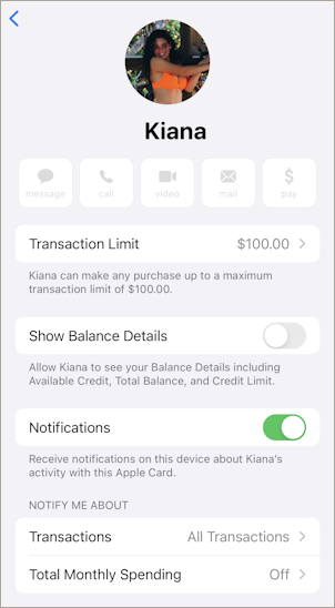 apple card credit - add family member child - participant info window