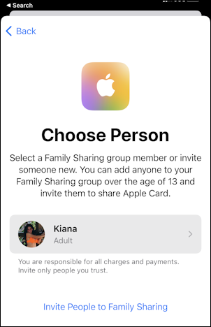 apple card - credit card - add family member child - choose person