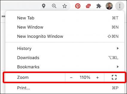 google chrome zoom level main menu setting