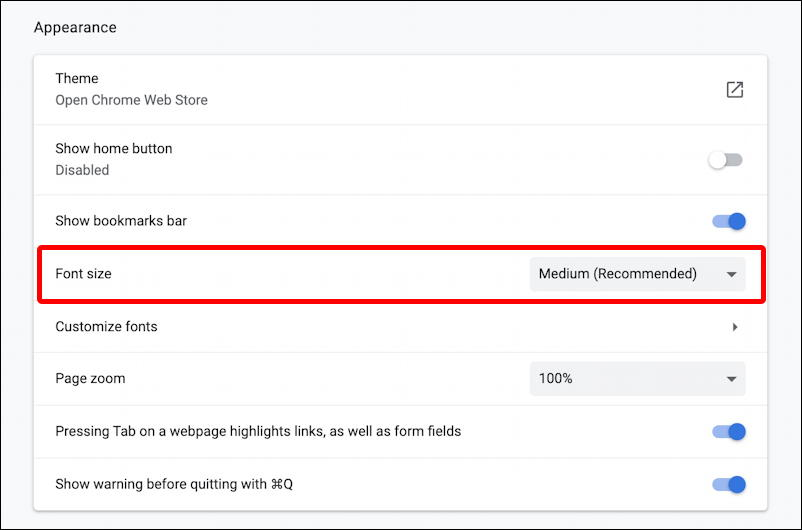 google chrome preferences > appearance - defaults