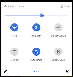 android quick settings - main icons view