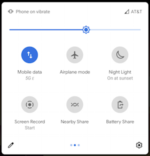 android quick settings - second screen view
