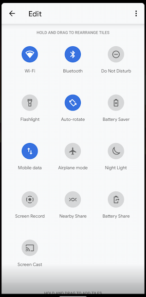android quick settings - rearrange reorder edit