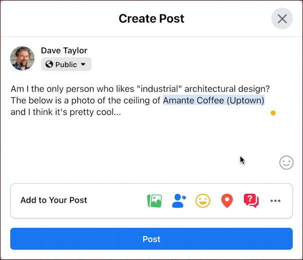 facebook create post with location link mac desktop web
