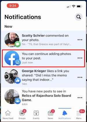 facebook mobile - add photo to desktop status update post
