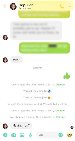 facebook messenger - color theme nicknames emoji