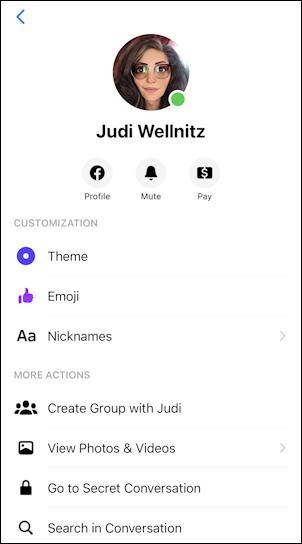 facebook messenger - chat window settings info