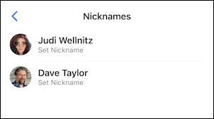 facebook messenger - change nicknames