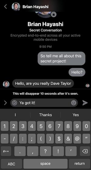 facebook messenger - timed self-destruct private secret message