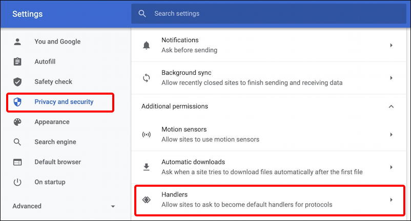 Google chrome settings > privacy > advanced > handlers