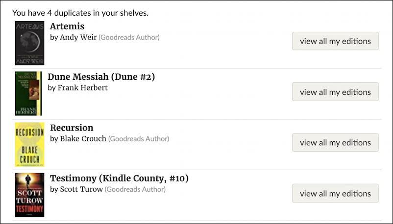 goodreads.com - list of duplicate book titles