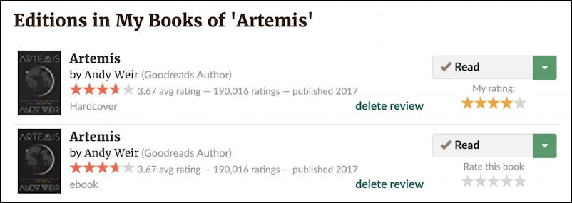goodreads remove duplicates - artemis andy weir
