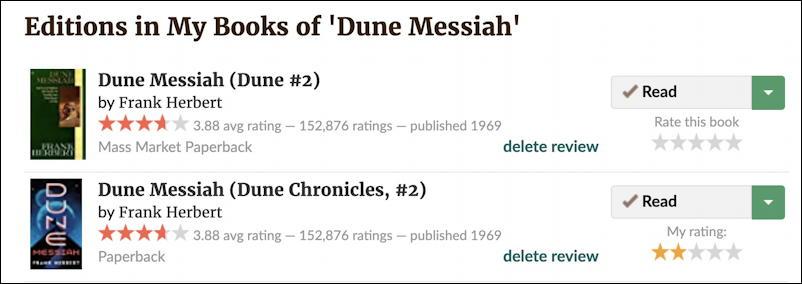 goodreads remove duplicates - dune messiah frank herbert