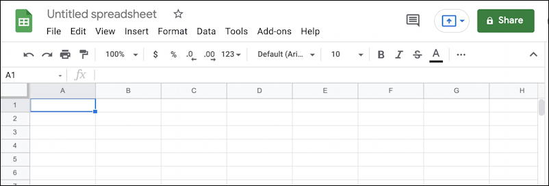 google sheets spreadsheet formatting 101 basics - new sheet
