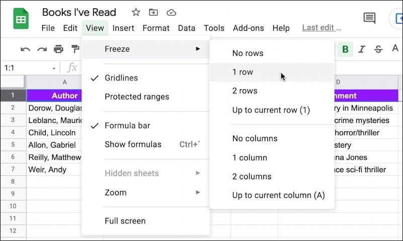 google sheets spreadsheet - freeze lock column titles row