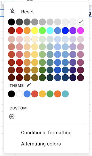 google sheets spreadsheet - fill palette