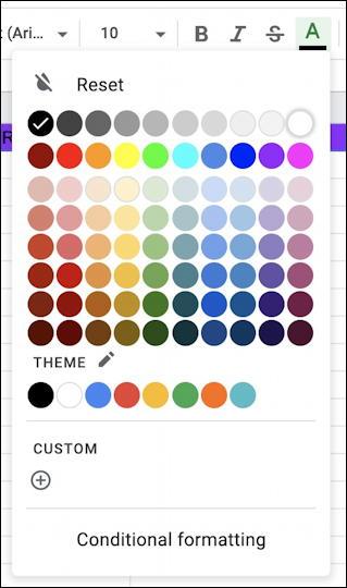 google sheets spreadsheet - text color palette