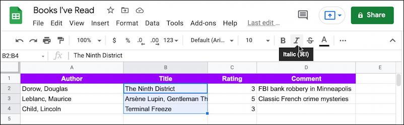 google sheets spreadsheet - italicize column