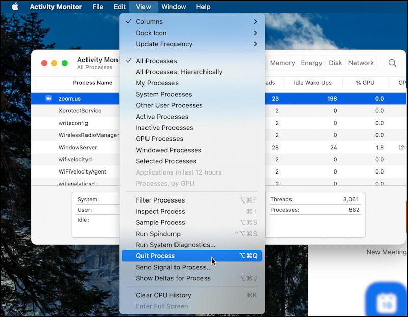 mac macos activity monitor - view > force quit app