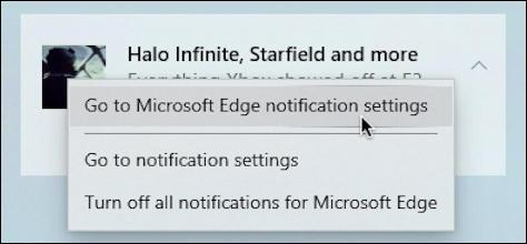 disable edge notifications website - settings menu