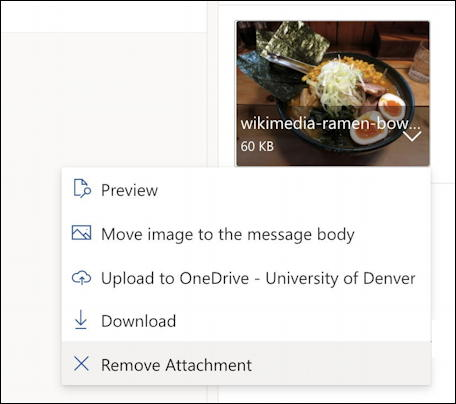 how to add inline picture photo - outlook email - image attachment menu