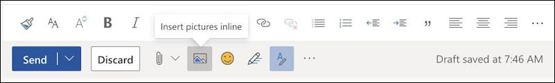 how to add inline picture photo - outlook email - inline image icon toolbar