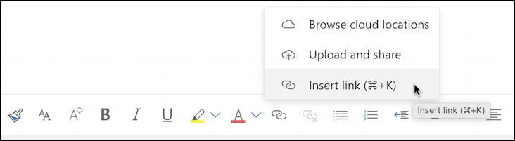 how to add hyperlink web url link - outlook email - add link menu