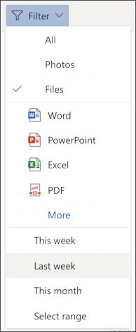 microsoft outlook.com online - filter menu