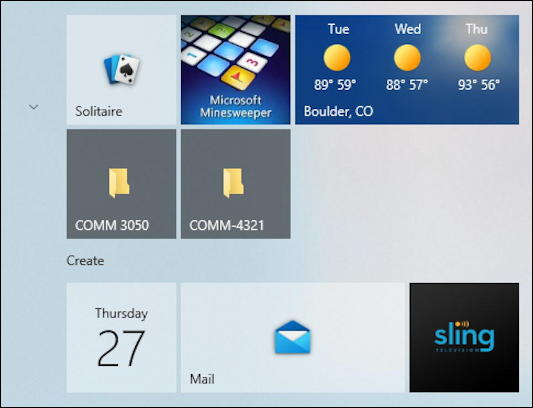 win10 start menu - folder icons tiles