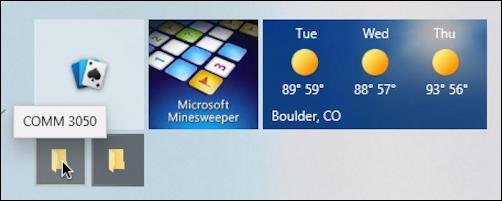 win10 pc - start menu - 'small' folder start menu tiles