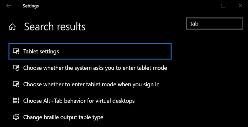 win10 tablet mode - search for 'tablet'