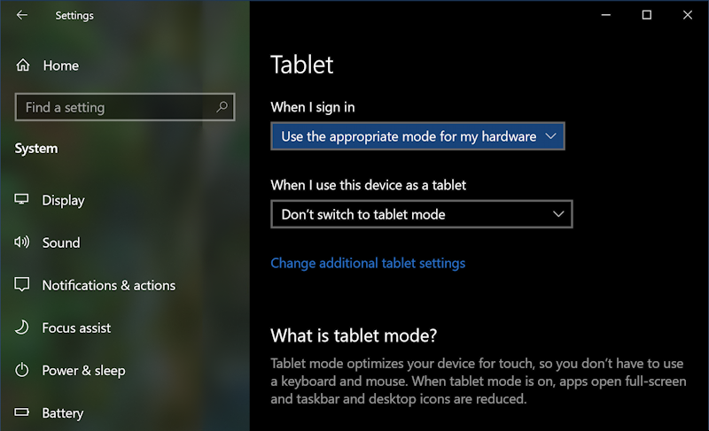win10 tablet mode - tablet settings preferences