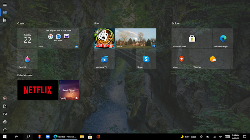 win10 tablet mode - start screen