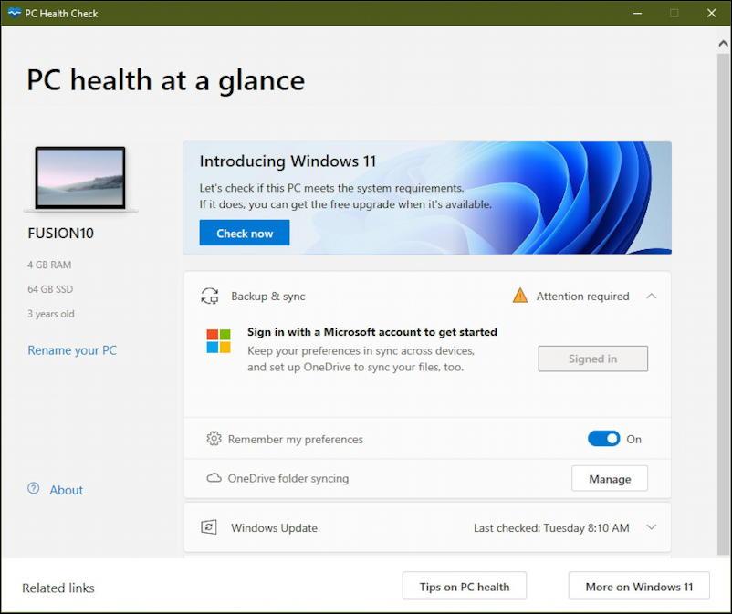 win11 pc health check app - windows 11 compatible? vmware fusion