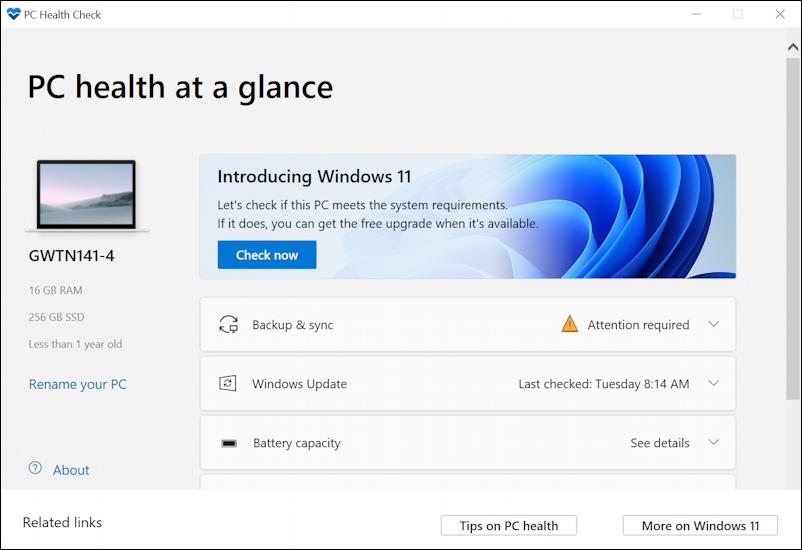 win11 pc health check app - windows 11 compatible? gateway