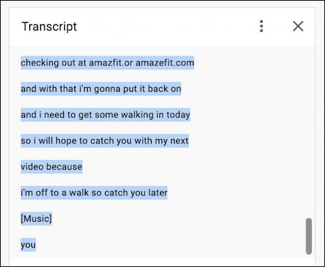 youtube auto transcript - every line selected